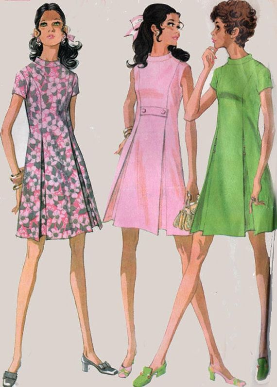 1960s MADMEN Dress Stand up Collar and Front Inverted Pleats McCalls ...