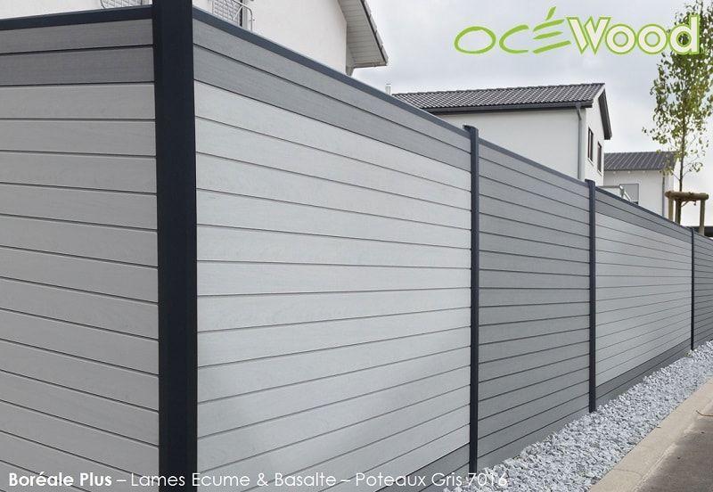 Cloture de jardin composite Océwood® - lames Ecume et Basalte