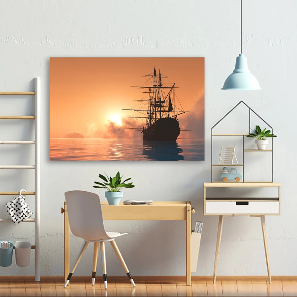 Large Sailing Boat And Sunset Canvas Art Avail Wall Canvas Wall Decor Wall Canvas Lighted Canvas Art