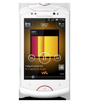 As especificações do Live com Walkman da Sony Smartphones incluem uma tela sensível ao toque de 3,2