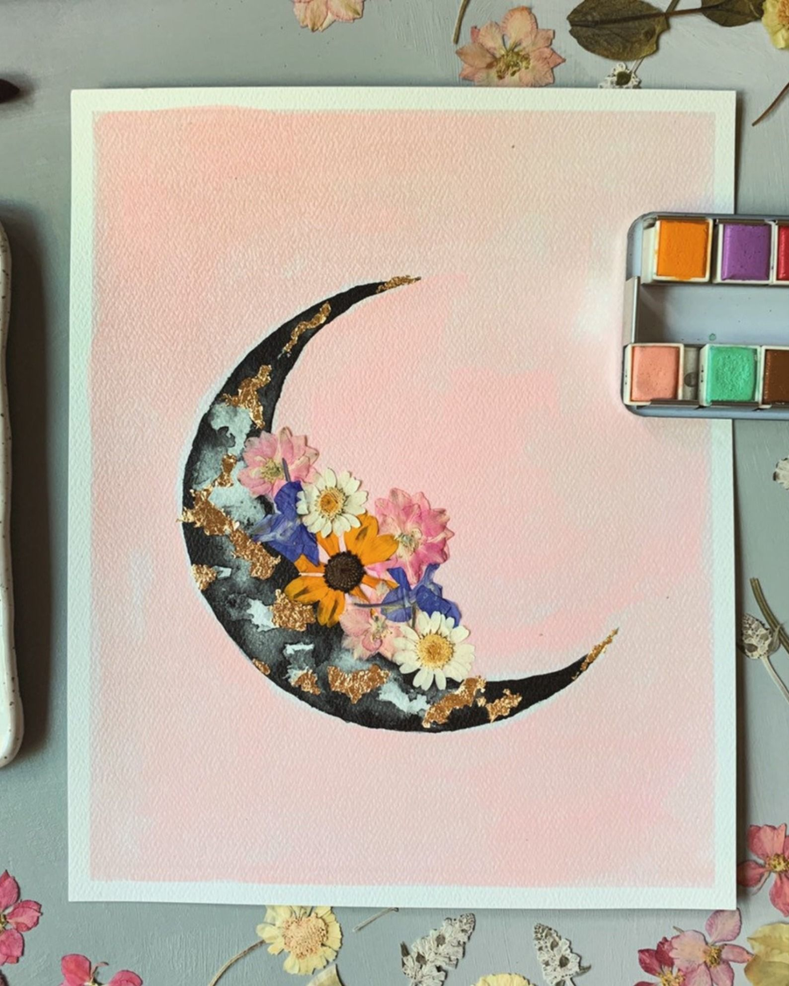 Embellished Print Feminine Crescent Moon Watercolor Moon