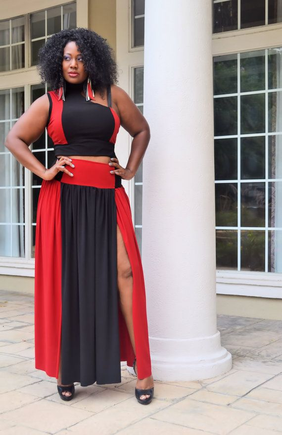 9c37fbf4cf4 Plus Size Maxi Skirt - Colorblock Black   Red