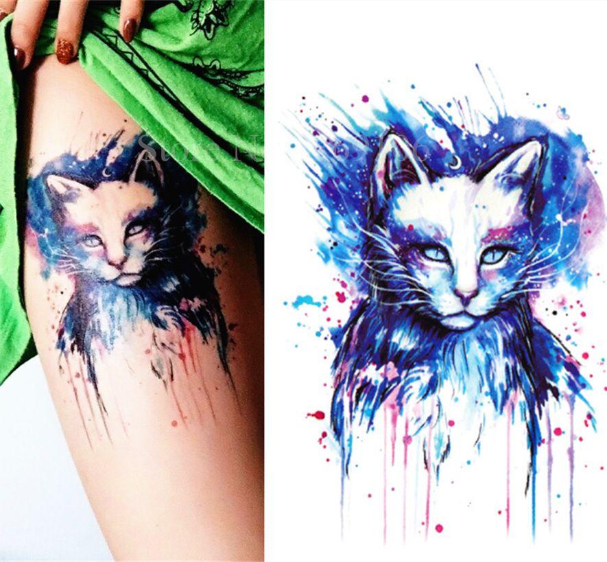 Beautiful Blue Cat de Alta Calidad tatuajes temporales pegatinas Tatuajes Arte Corporal Etiqueta de Papel Resistente Al Agua 21x15 cm #30
