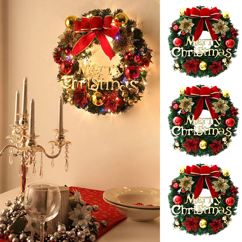 Garland Flower Decor Bowknot Bell Door Red Wall 1Pcs Christmas ...