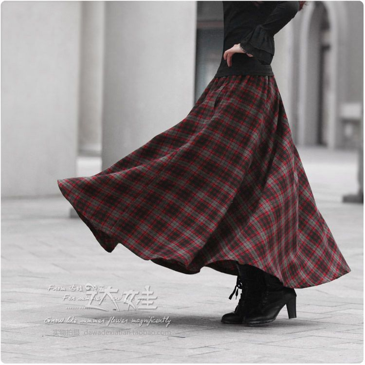 Wholesale and retail 2014 Autumn and winter women plaid maxi skirt ...