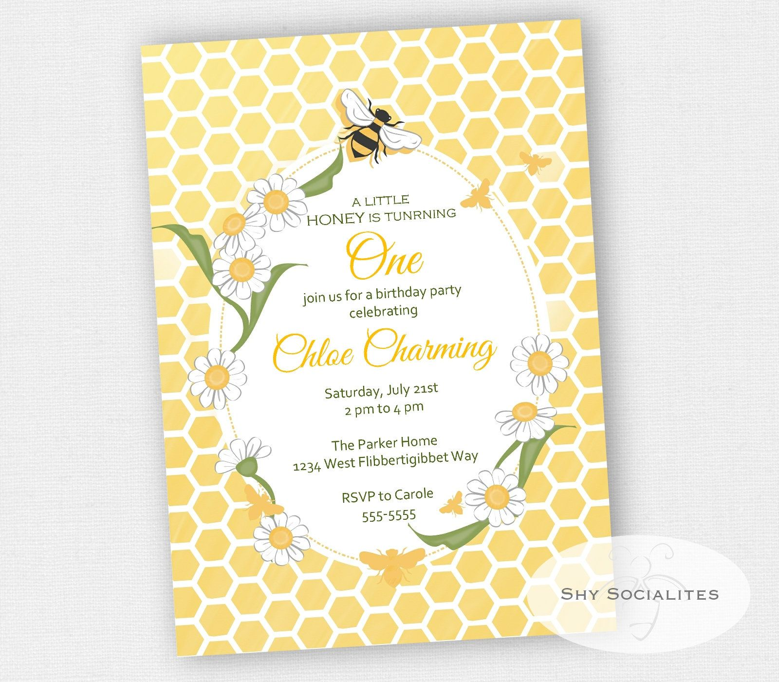 honey bee birthday party invitation