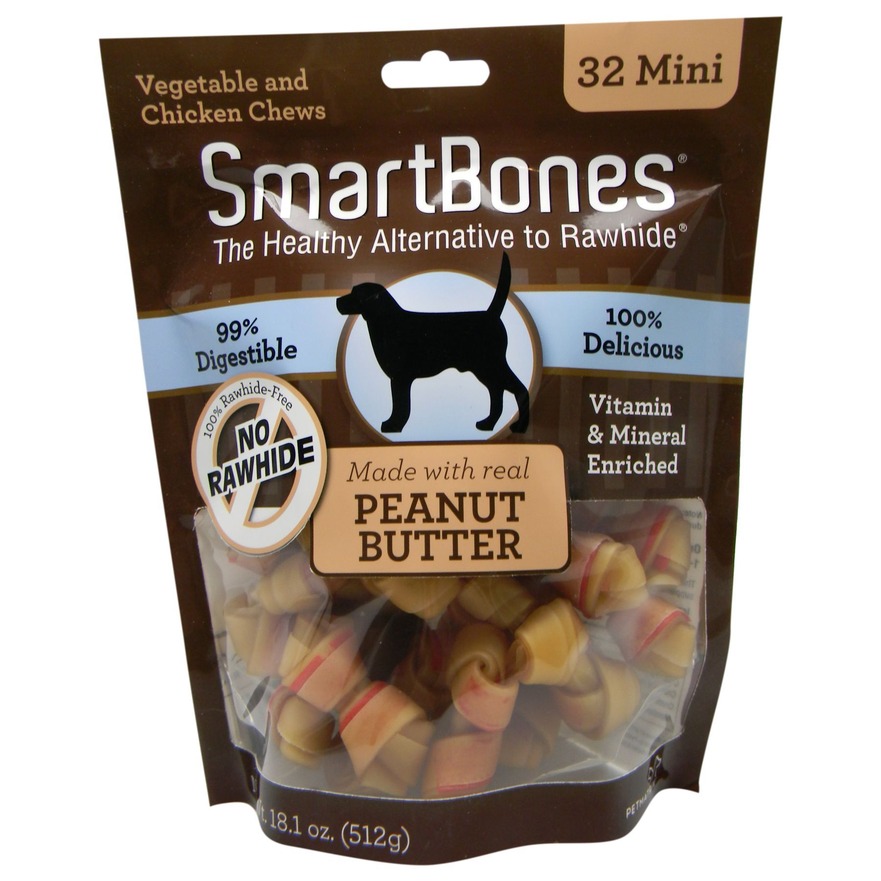 SmartBones Mini Chews Dog Treat Peanut Butter size 32