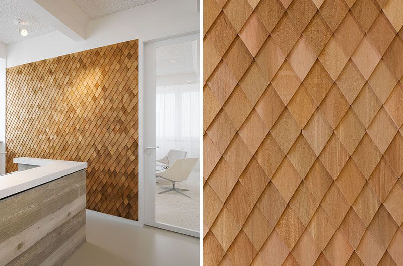 Interior Design Idea In This Contemporary Office Interior The Designers Used Wooden Shingl Wood Shingles Interior Wall Design Contemporary Decor Living Room