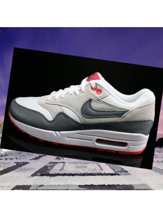 039378b10c5 Chaussures De Course Nike Air Max 1 Essential Femme Blanc Pourpre Gris Gris  Frais Zd6pOb