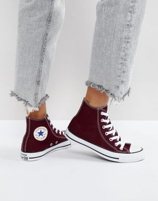 Converse Chuck Taylor All Star Hi Top Sneakers In Burgundy