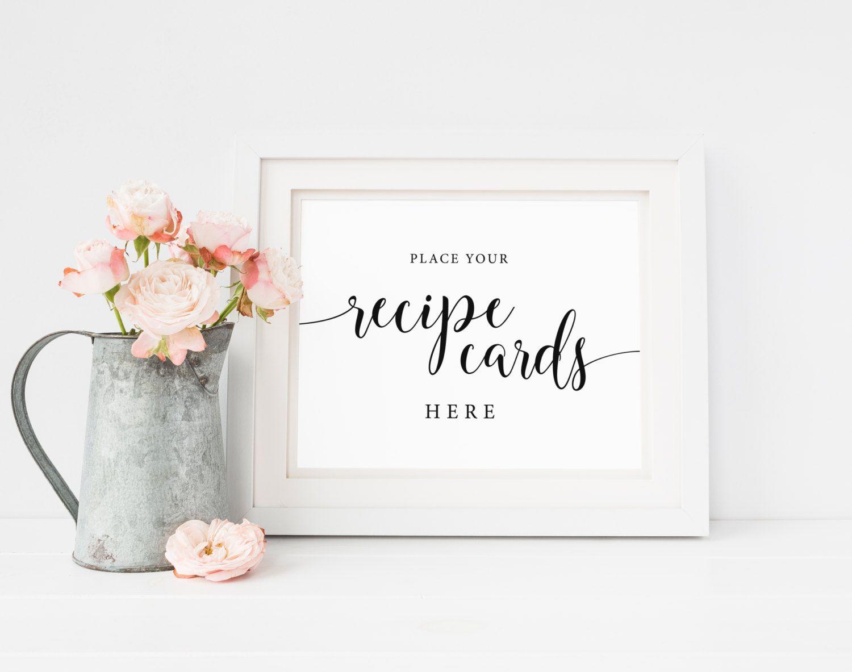 Recipe Cards Signbridal Shower Recipe Recipe Card Sign Drop Etsy Wedding Guest Book Sign Wedding Signs Wedding Envelopes