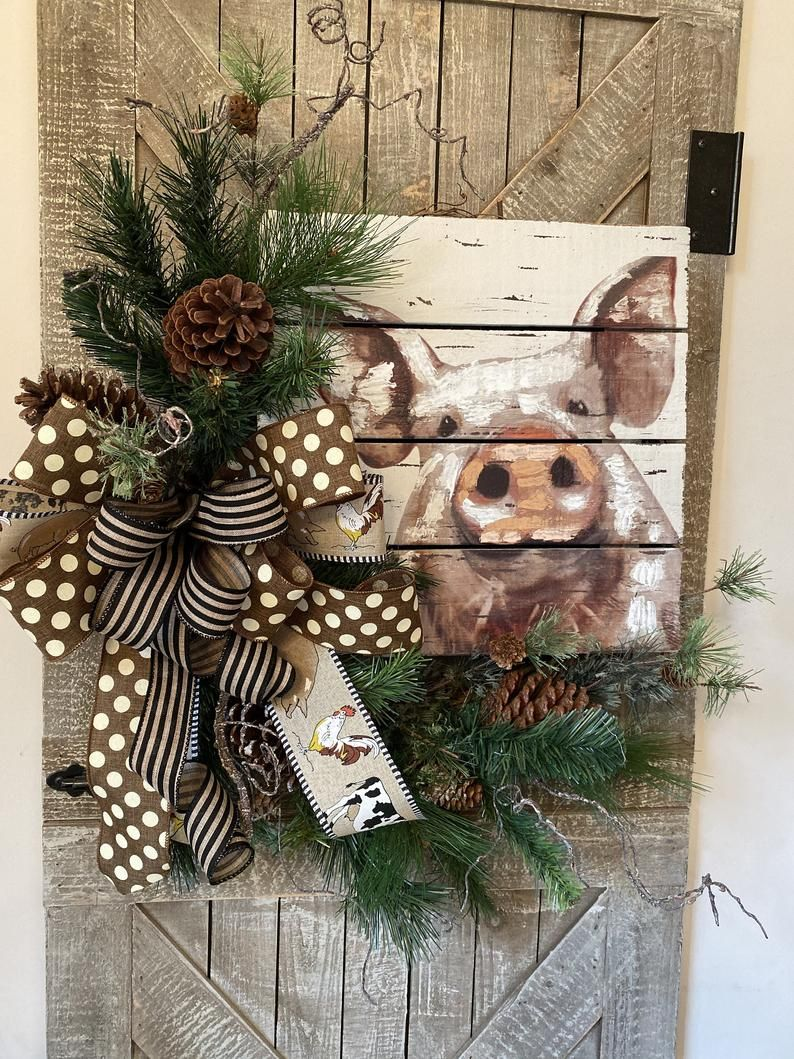 Photo of Farmhouse Country Rustic Front Door Wreath, Everyday Door Wreath, All Season Door Wreath, New Home Gift, Christmas Gift, Pig Collector Decor