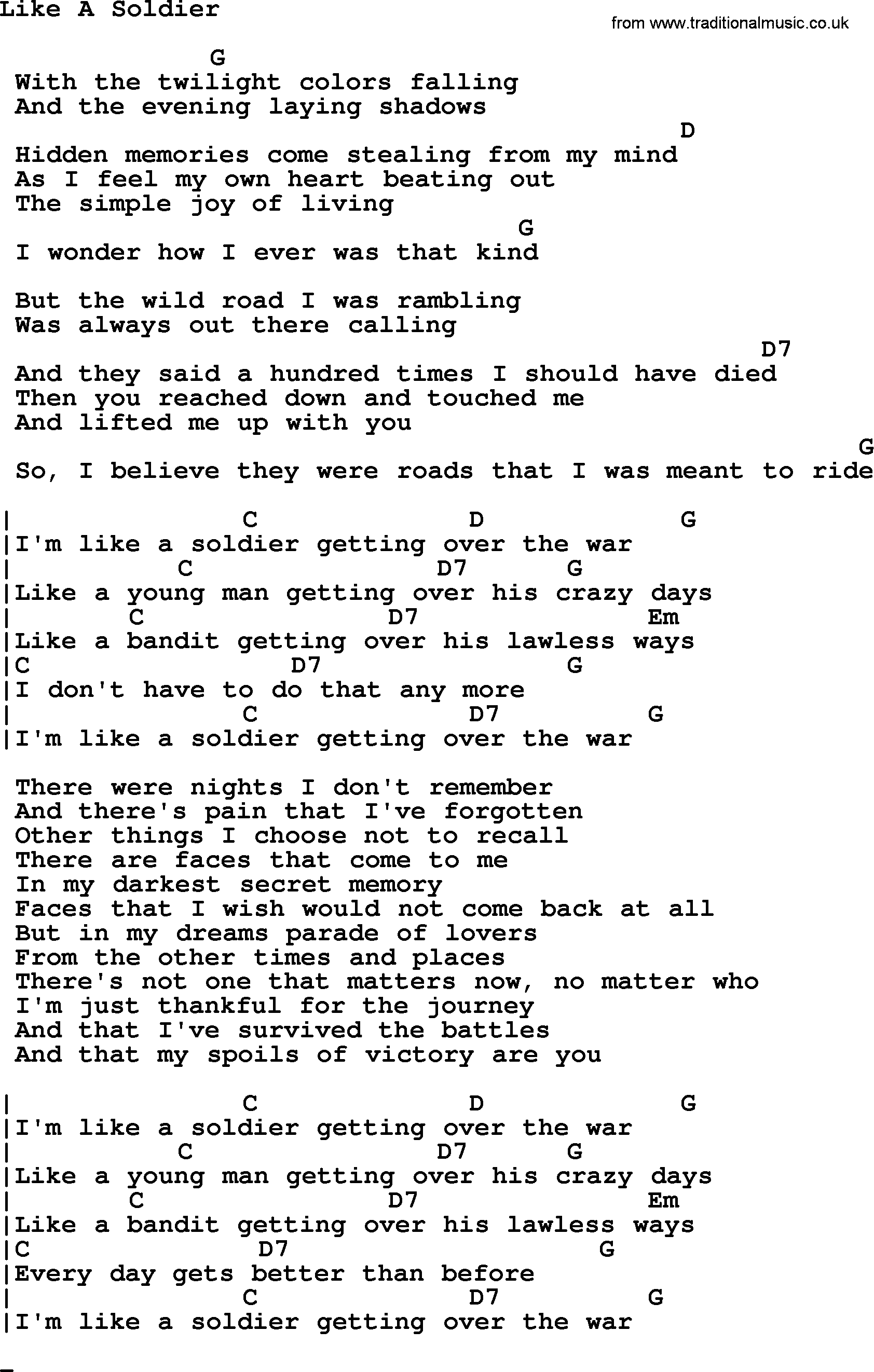 Johnny Cash Song Like A Soldier Lyrics And Chords Guitar Chords