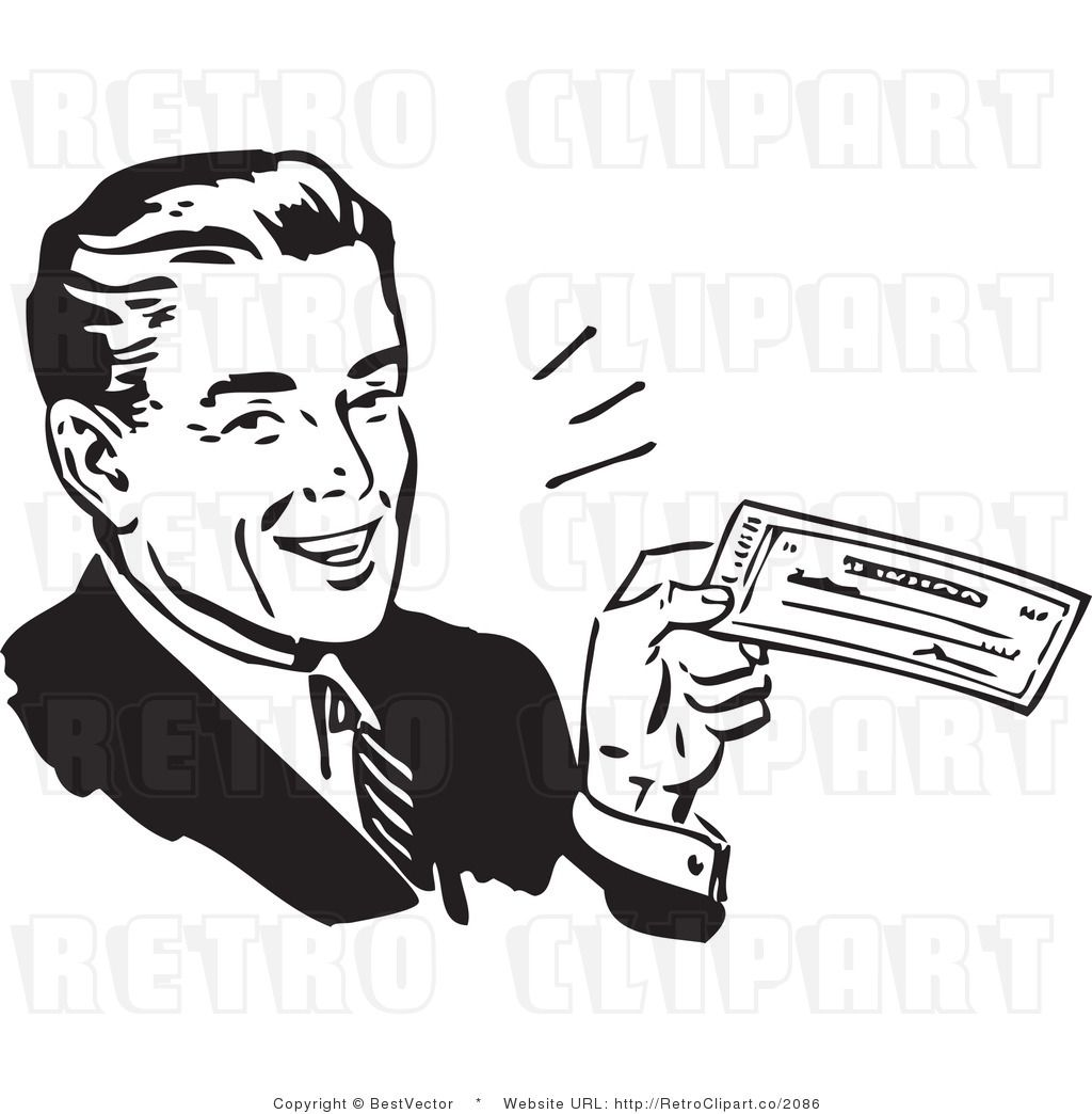 Retro Clip Art of a Happy Businessman Displaying His Big ...