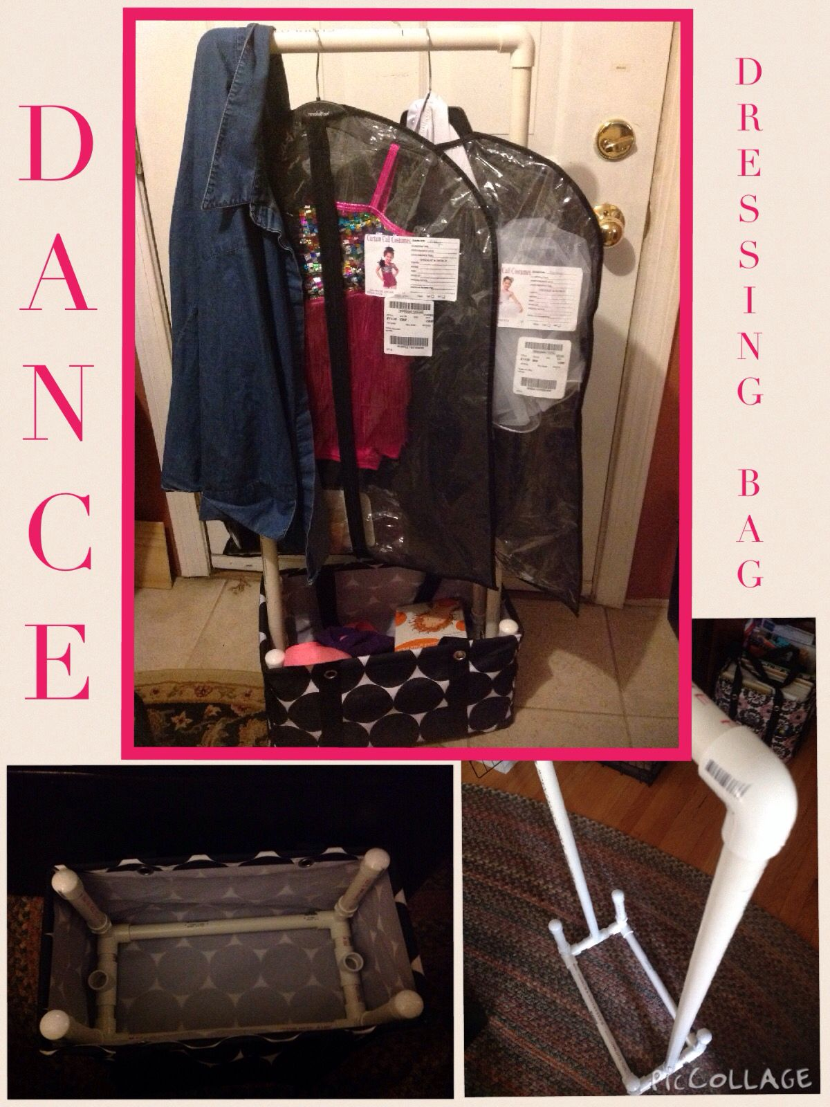 Dressing bag station for any dance recital or competition for Pvc pipe dressing room