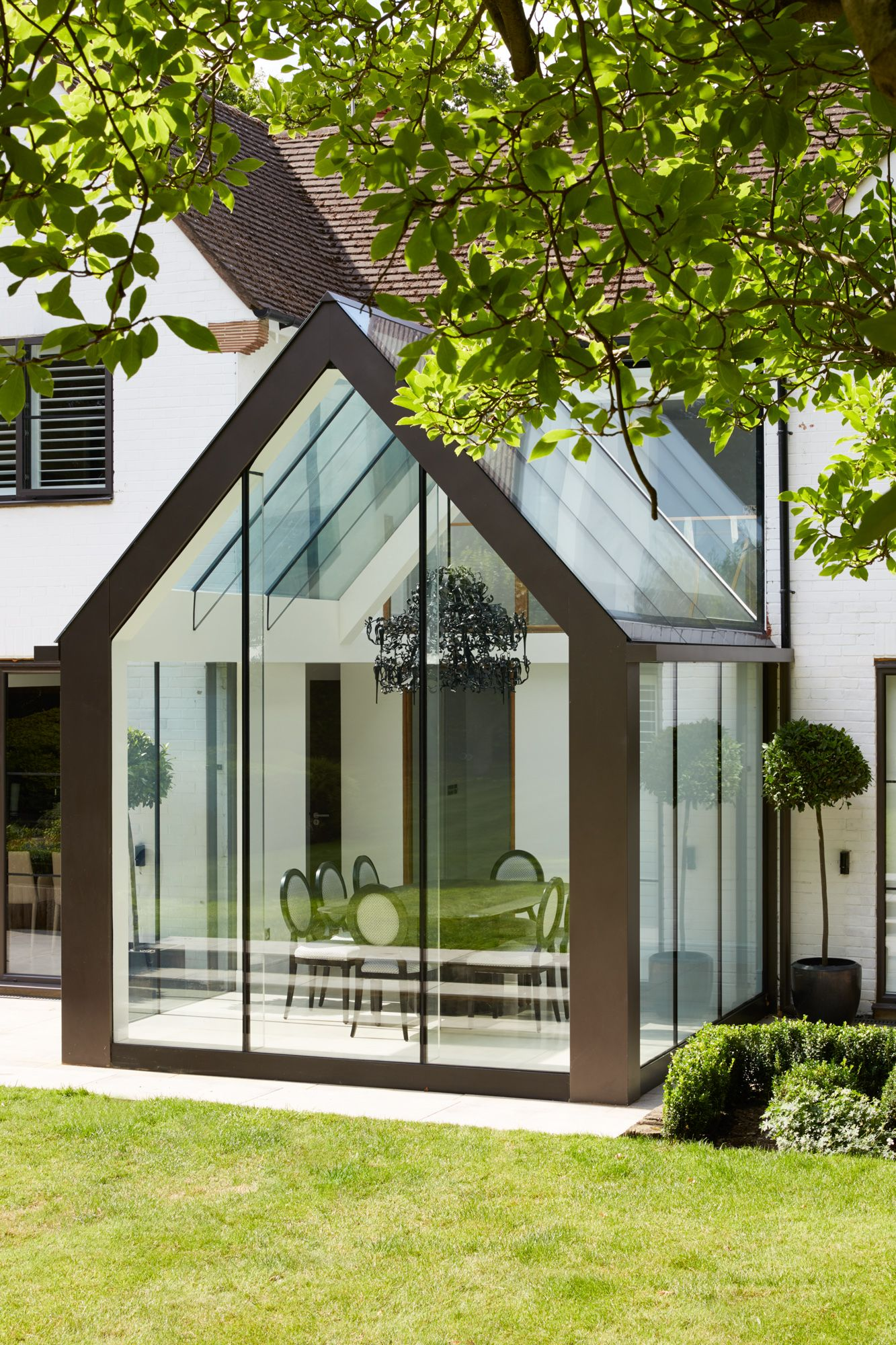 Contemporary Mono Pitched Structurally Glazed Roof Dining Room With