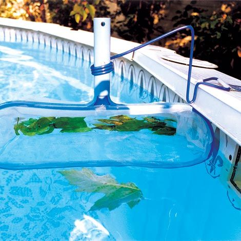 Pool Skimmer Collects Surface Debris Before It Sinks To