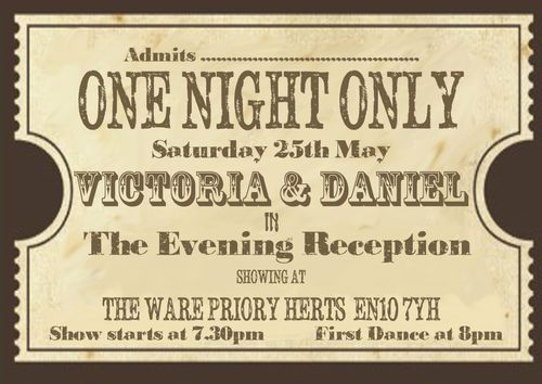 personalised vintage theatre ticket wedding invitations sold in