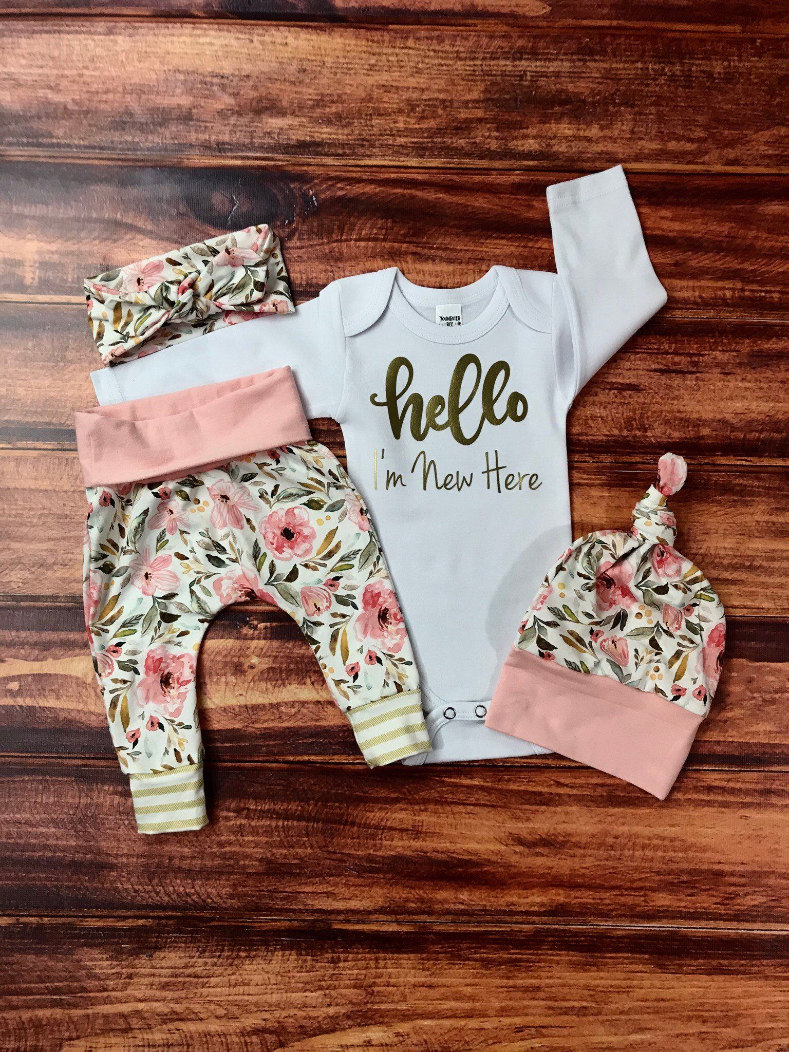 Photo of newborn girl coming home outfit/ hello I'm new here floral set/ personalized bay girl newborn set