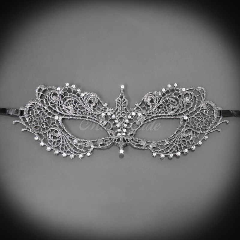 RHINESTONES LACE Mask for Women LM0601 Lace Masquerade Mask White
