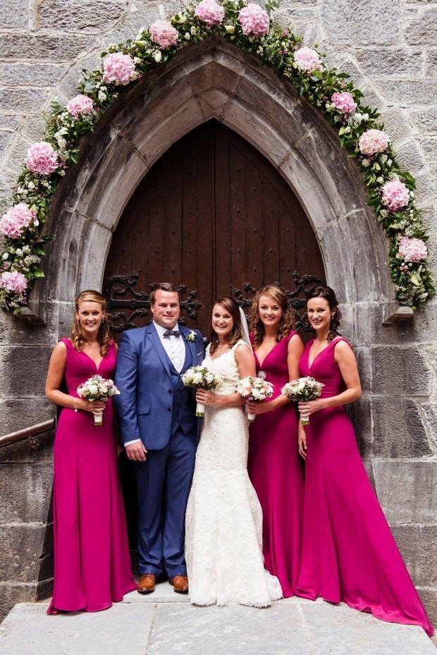 Full Length Raspberry Bridesmaids Dresses Vneck Lq 4