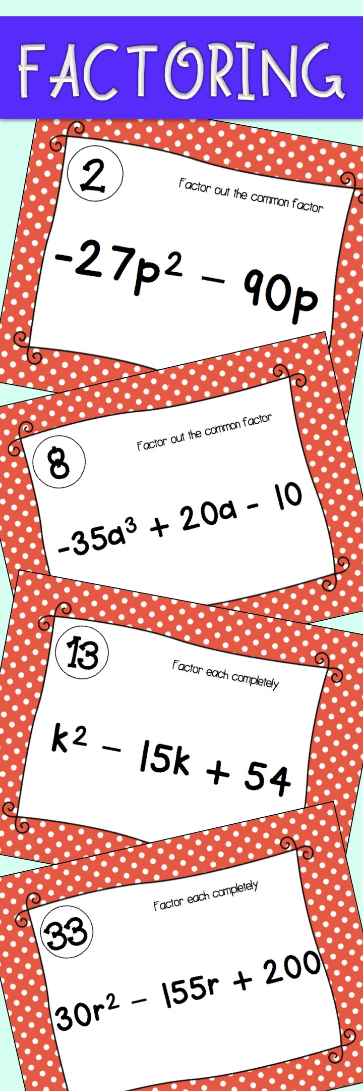 Factoring Task Cards | Middle school maths, Math activities and ...