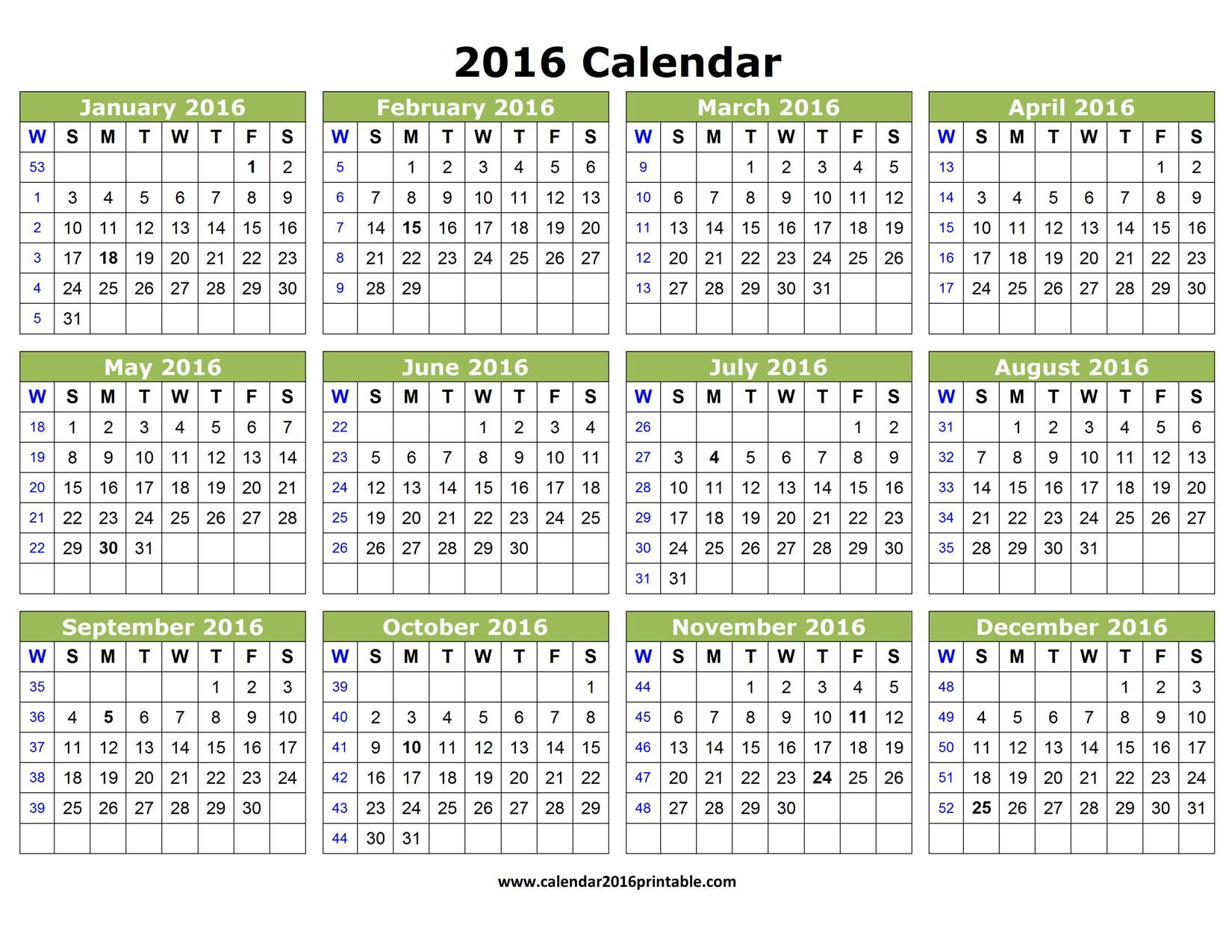 Free 2016 Calendar Template That You Can Download Customize And
