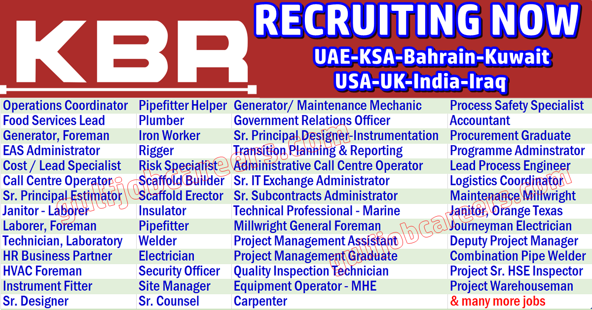 KBR Job Openings | Job Search Oil & Gas Bomdevagas