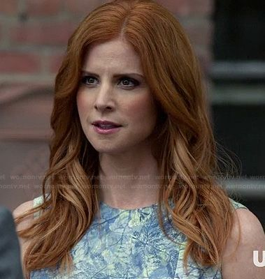 Donna's blue and green abstract printed dress on Suits.  Outfit Details: http://wornontv.net/19226/ #Suits