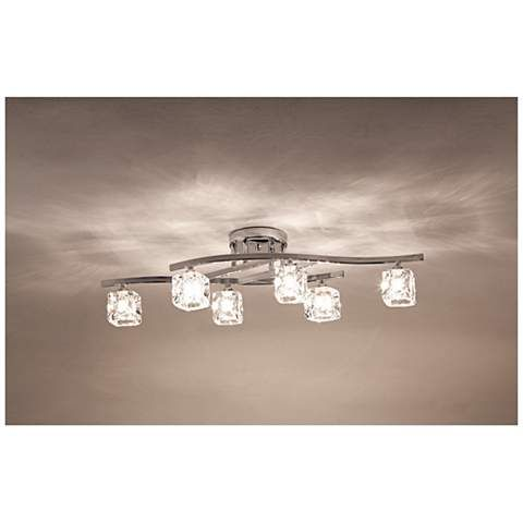 Possini Euro Crystal Cube And Chrome Ceiling Light R8613 Lamps Plus Ceiling Lights Kitchen Ceiling Lights Track Lighting Kitchen