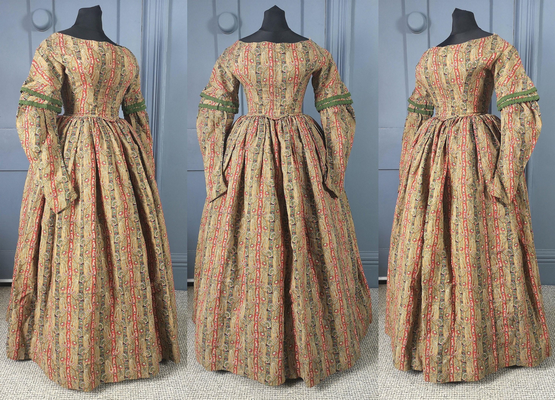 Rare 1830s Paisley Print Day Dress Late Georgian Etsy Day
