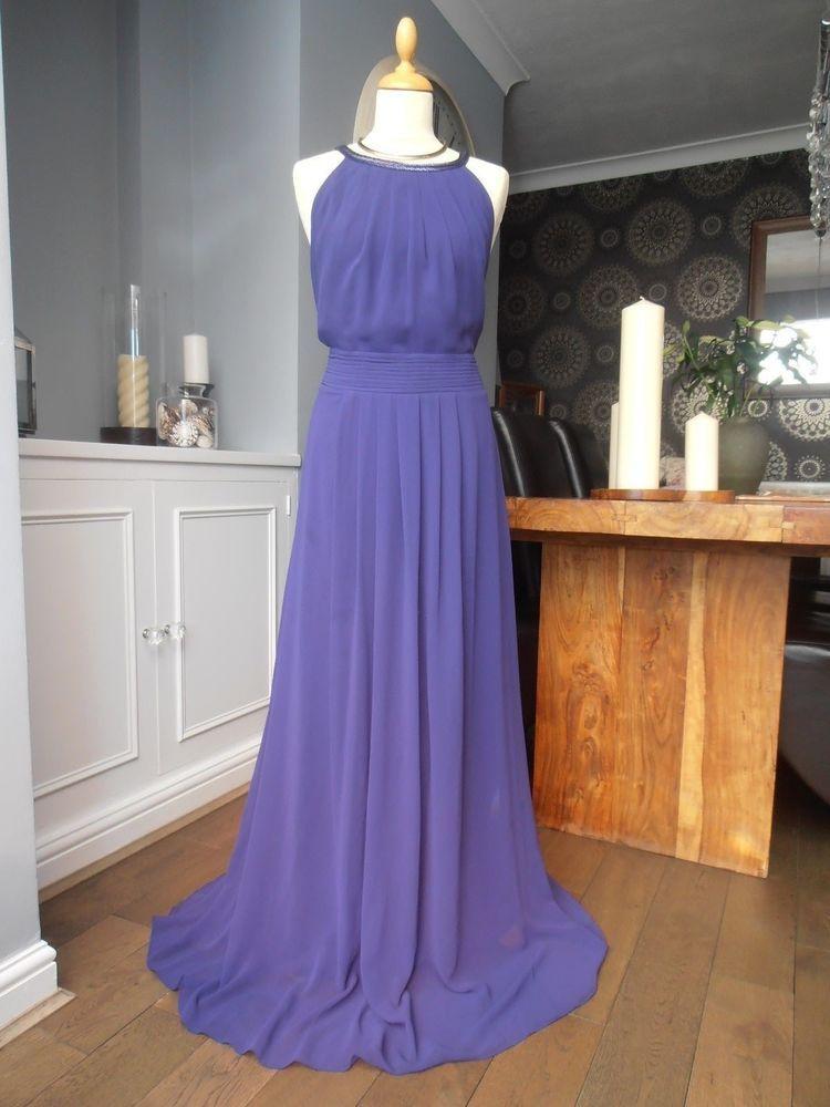 Coast maxi long beaded purple evening party dress size 18 ...