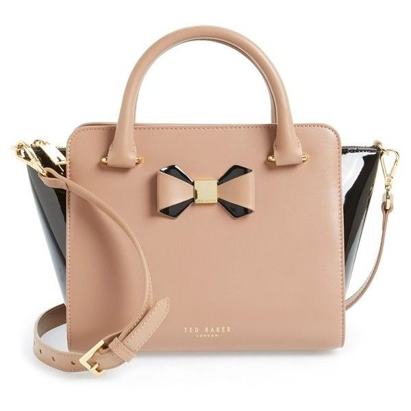Ted Baker London 'Bow' Tote (2.785 NOK) ❤ liked on Polyvore featuring bags, handbags, tote bags, purses, mink, tote handbags, structured leather tote, zip top leather tote, leather handbag tote and handbags totes