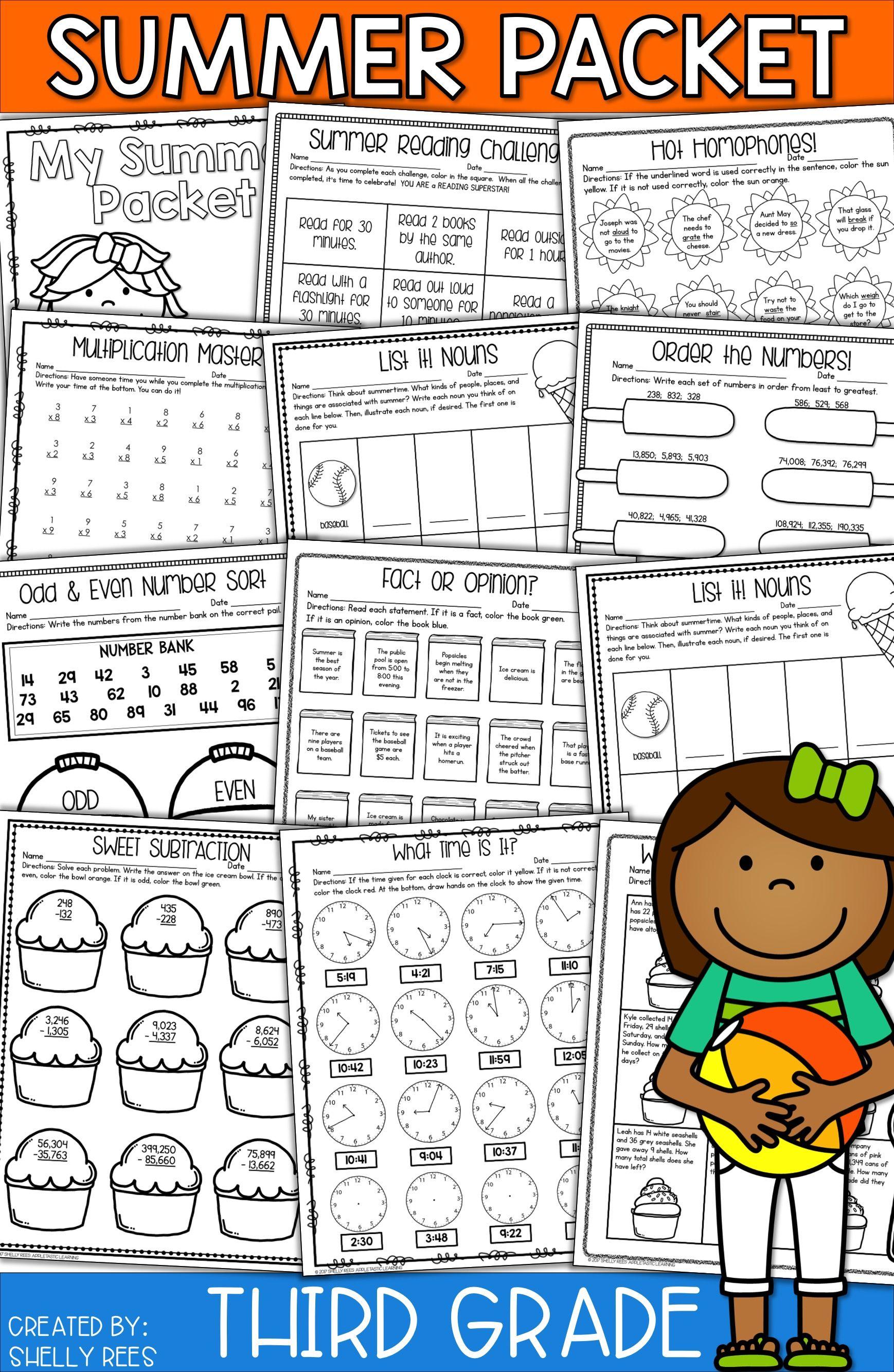 3rd Grade Summer Packet   Summer Packet for 3rd Going to 4th Grade   Summer  math [ 2666 x 1738 Pixel ]