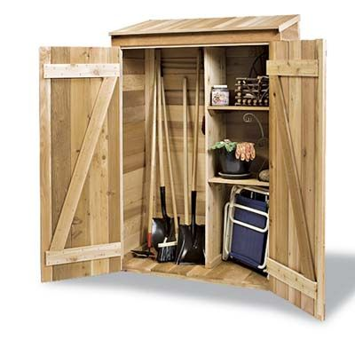 Narrow Tool Shed For Garden Tools And Planter Pots