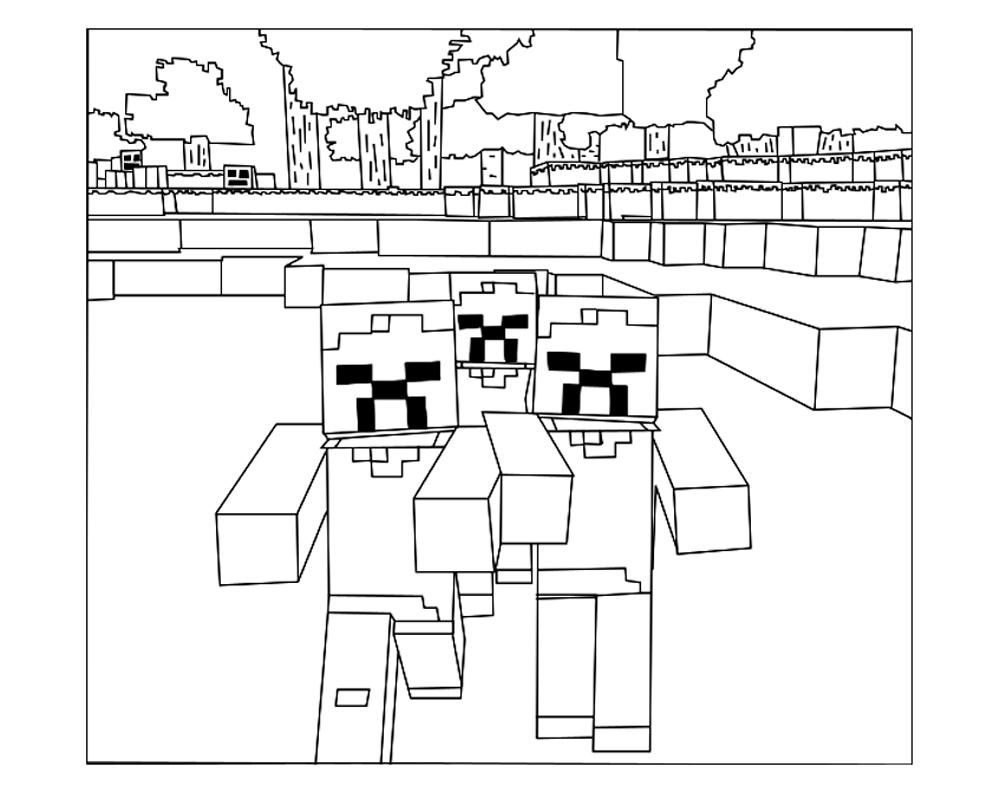 Minecraft Ausmalbilder Zombie : Pour Imprimer Ce Coloriage Gratuit Coloriage Minecraft 6 Cliquez