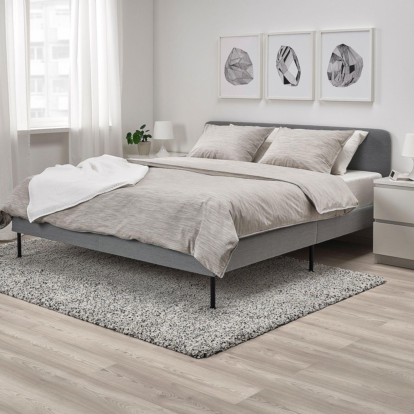 Literie De Luxe Suisse slattum cadre de lit matelassé - knisa gris clair - ikea