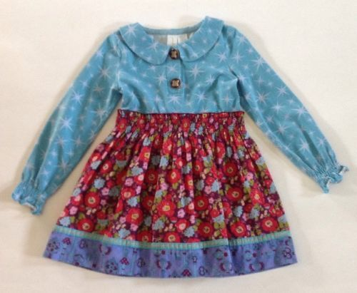 da89424de25 Matilda Jane Paint By Numbers Monica Dress 4 Blue Stars Purple Red Flowers