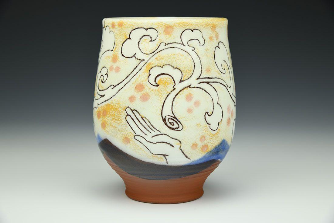 White Peony Cup By Paul Linhares White Peonies Sgraffito Ceramics