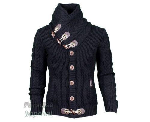 LCR Men/'s Fashion Sweater Knit Cardigan Color Ecru 5005