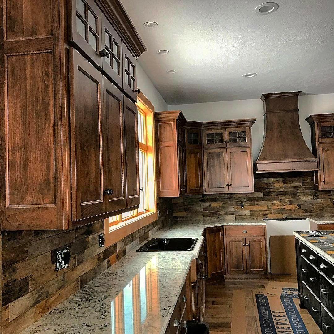 Custom kitchen backsplash from reclaimed barn wood. (With ...
