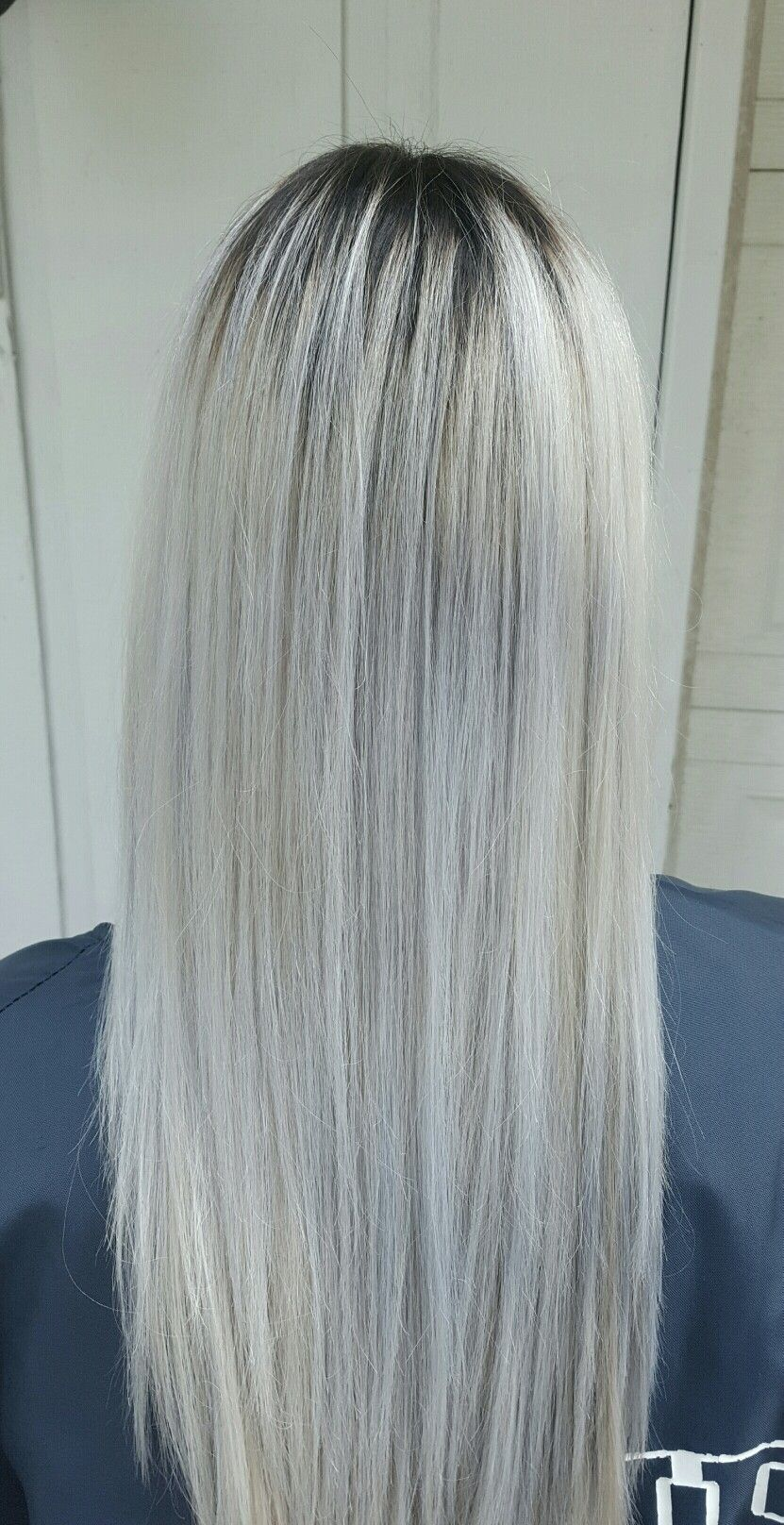 Dark Shadow Root Platinum White Blonde Hair With Blue Tones By