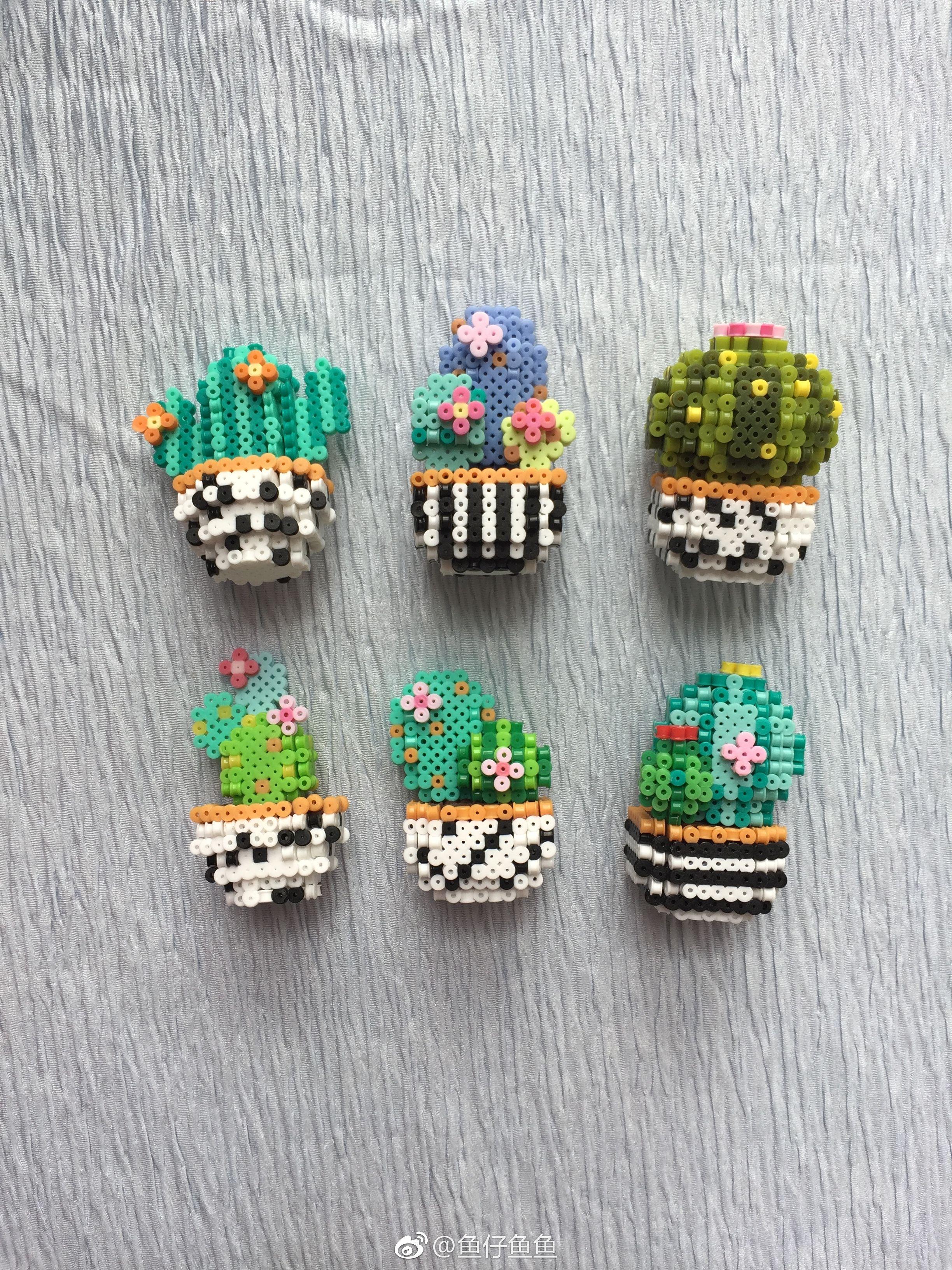 cactus 3d perler beads charts 8 bit pixel art square