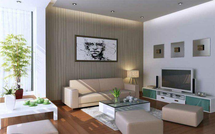 Wohnzimmer Einrichten Ideen Glastisch Pflanzen Einbauleuchten Bereiche