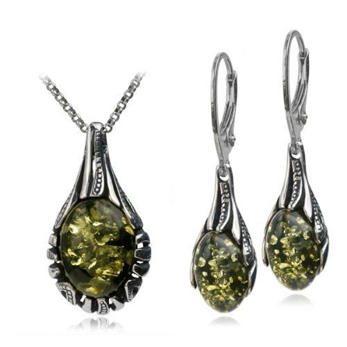 Sterling Silver Green Amber Drop Necklace 18 Inches Leverback Oval Earrings Set GRACIANA. $49.98. Treated method. All amber jewelry designs are from Eastern Europe. Save 55% Off!