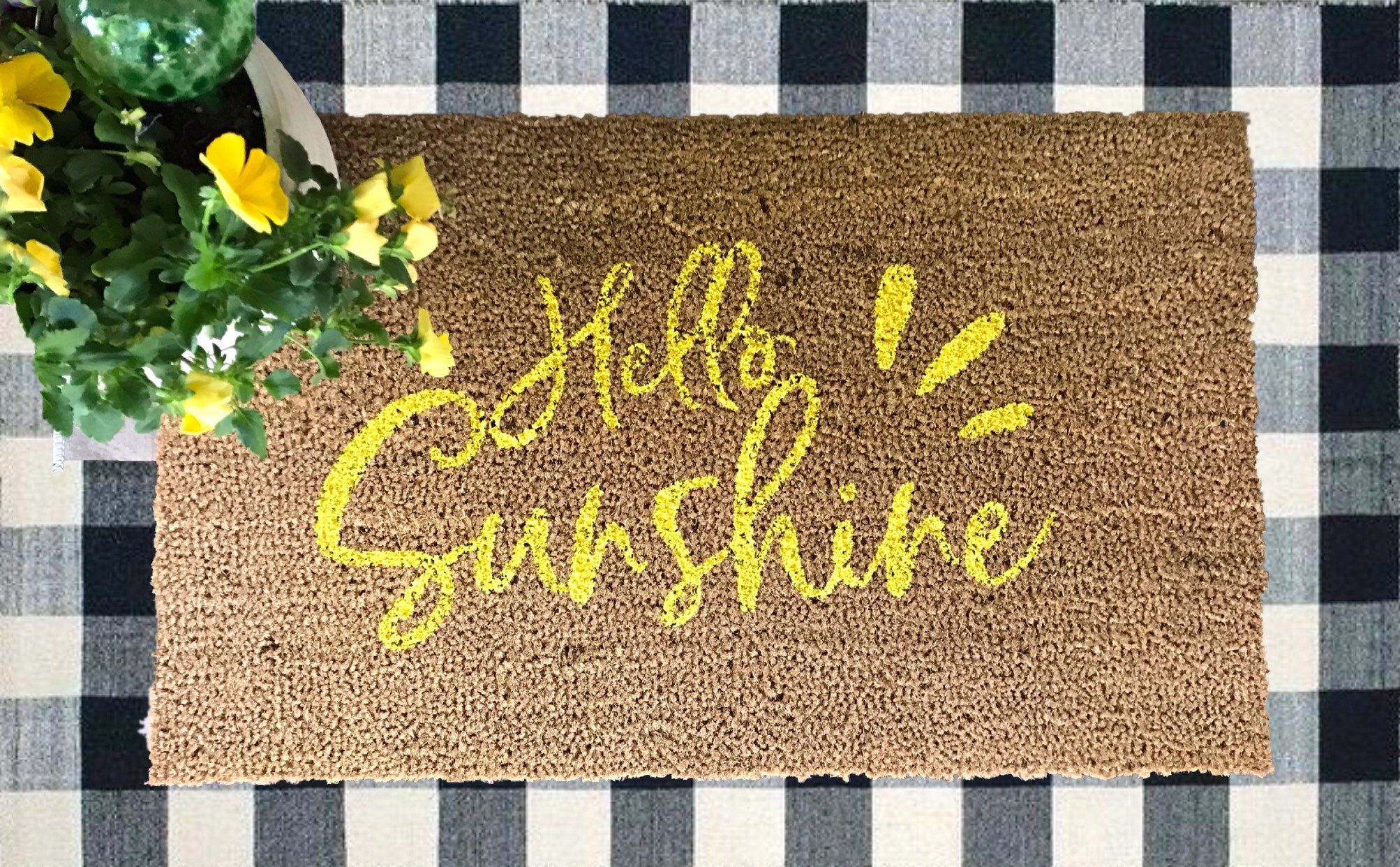 Excited To Share This Item From My Etsy Shop Hello Sunshine Doormat Outdoor Rug Coir Mat Front Door Mat Decorative Front Door Mats Door Mat Coir Mat