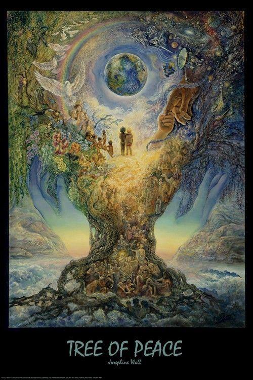 josephine wall art poster tree of peace 24x36 fine earth rainbow