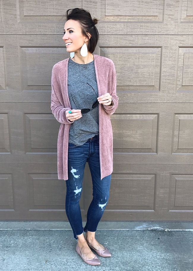 Everyday Style Ideas Early Spring Includes Cardigan Cute Sneakers Distressed Denim Graphic