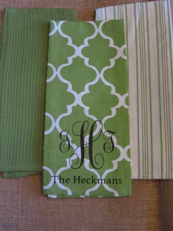 Monogram Morrocan Dish Towels Love This In The Blue Option