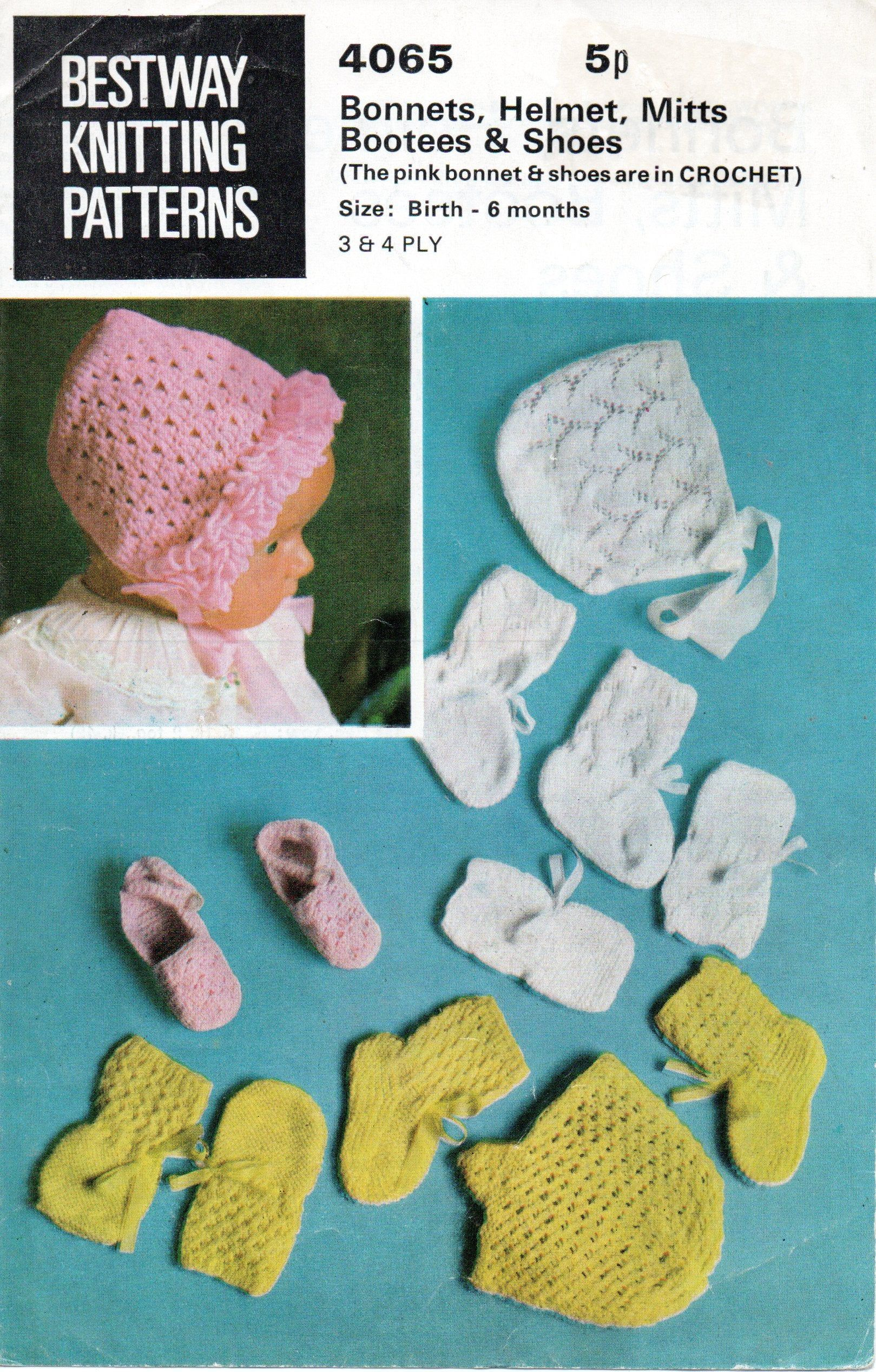 Vintage Baby Knitting Crochet Pattern Bonnets Hats, mitts and Boots 3 and 4 ply birth to 6 months Bestway 4065 pdf Download